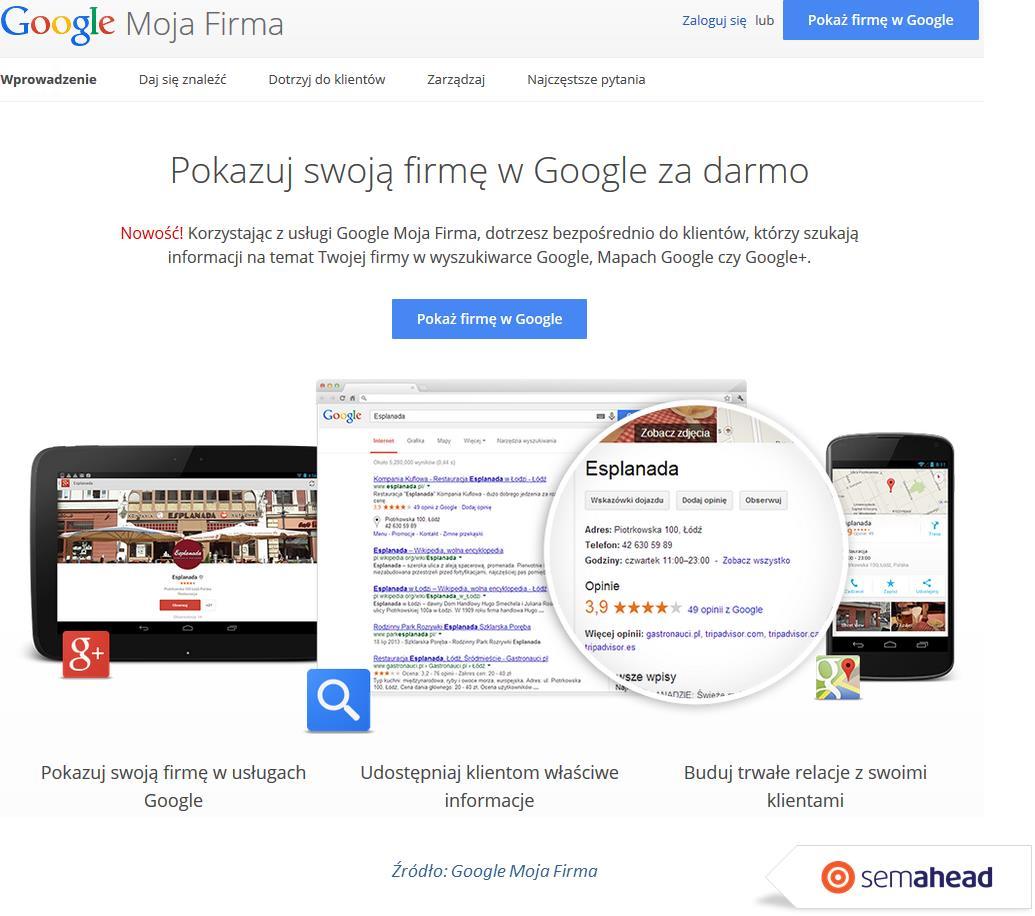 Google moja firma start