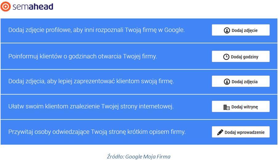 Profil Google Moja firma