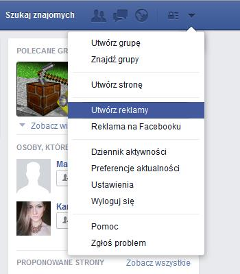 wybór celu facebook