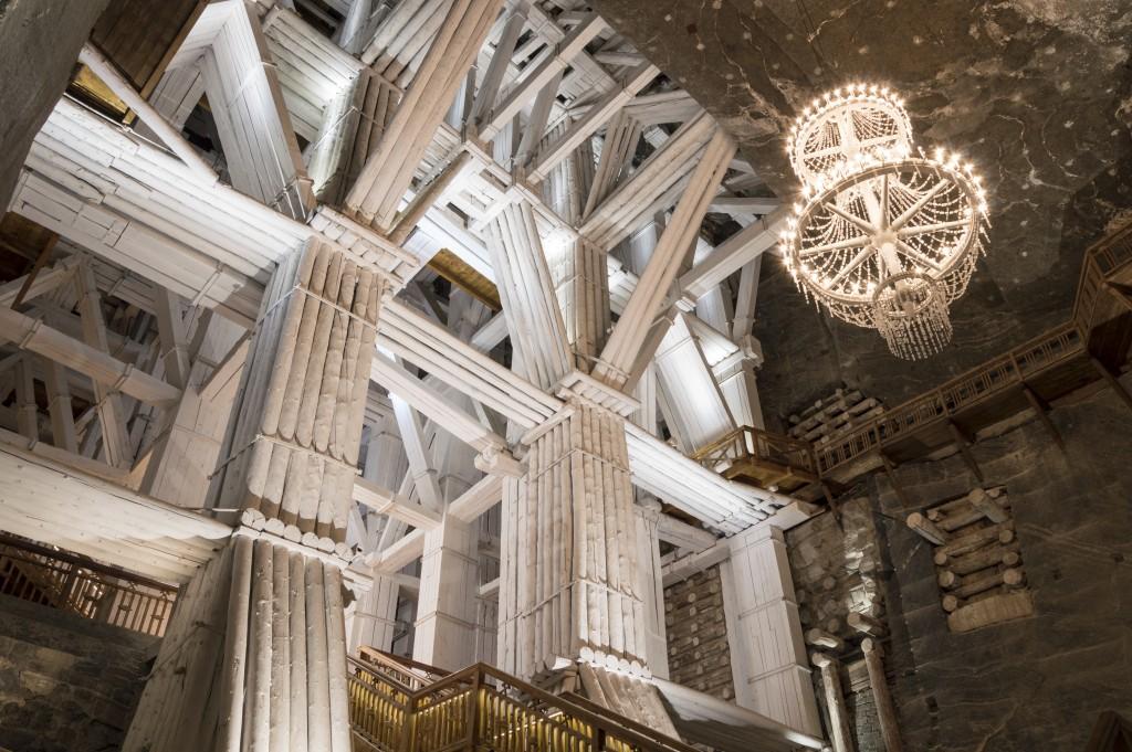 Illuminated, Underground Michalowice Chamber in the Salt Mine in Wieliczka, Poland