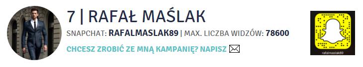 Rafał Maślak -TOP 100 polskich użytkowników Snapchata byHash.fm