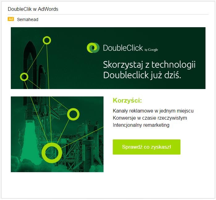 Przykład reklamy wGSP; Gmail Sponsored Promotions (Semahead)
