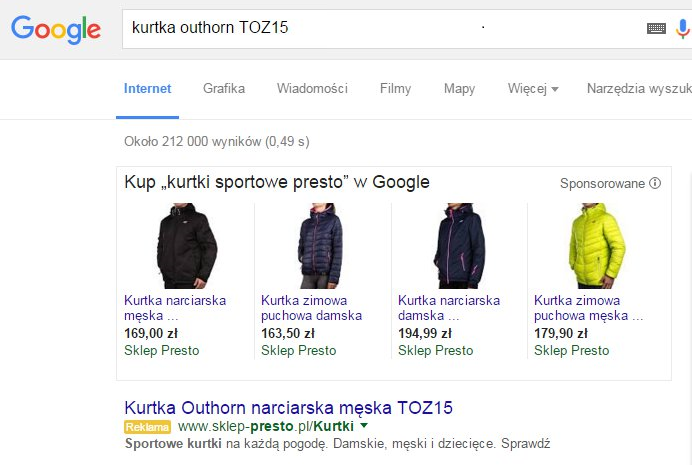 Reklamy dynamiczne wwyszukiwarce Presto