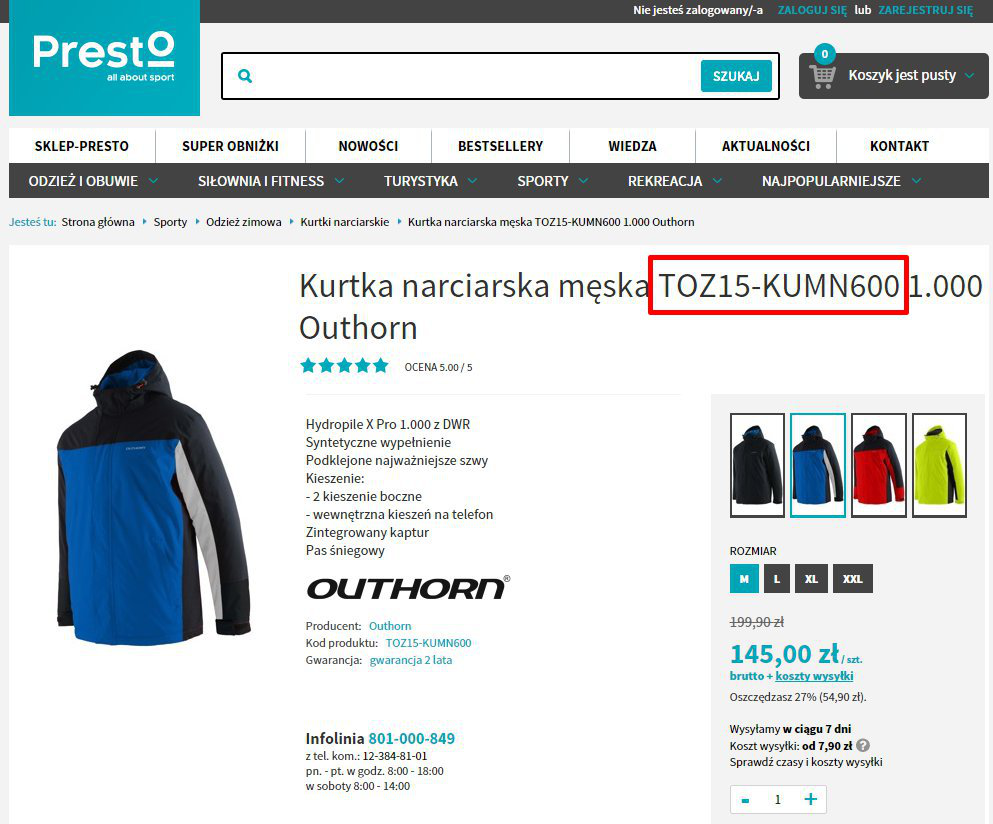 Reklamy dynamiczne wwyszukiwarce sklep Presto