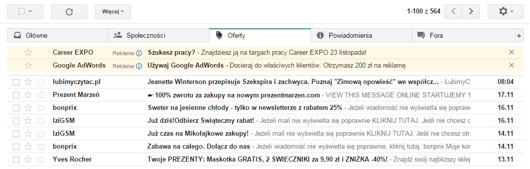 Przykład reklamy GSP. Skrzynka Gmail