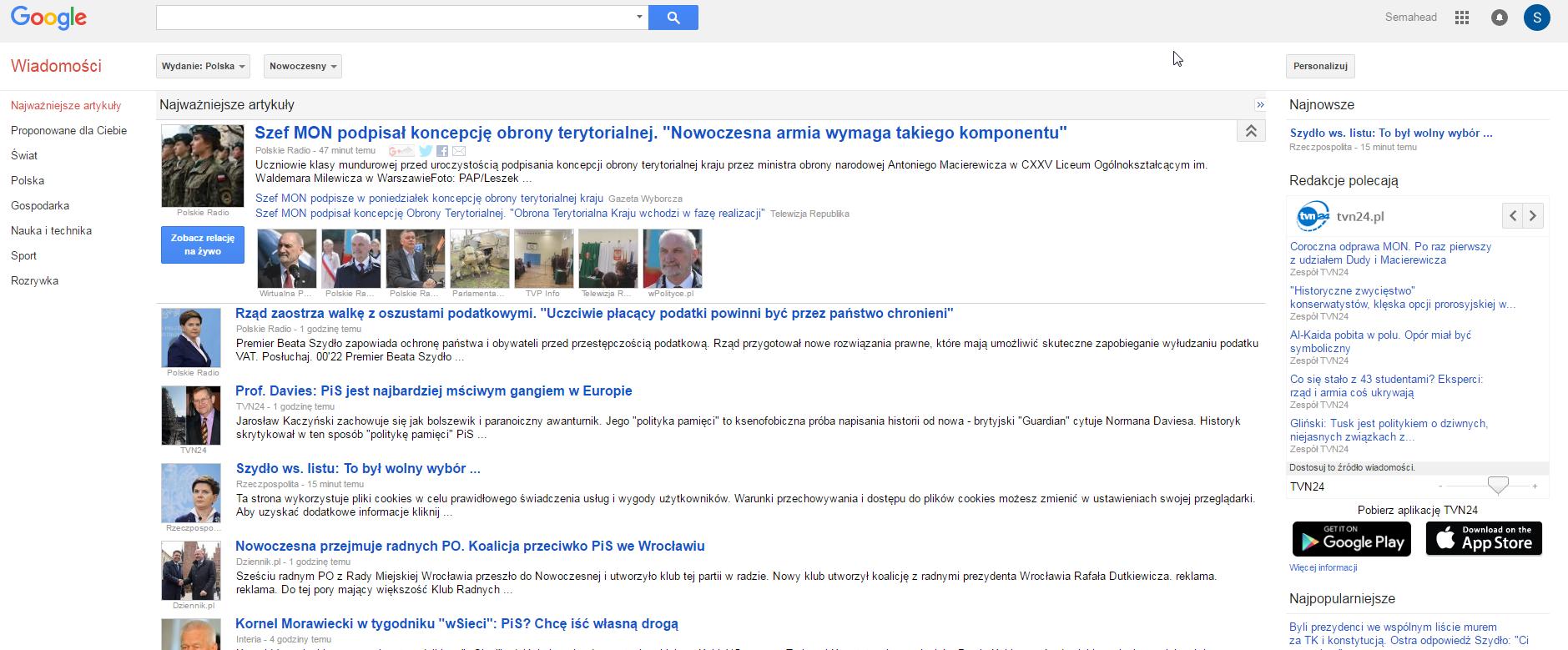 Strona główna Google News popolsku