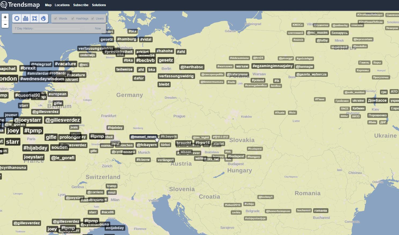 Mapa ukazująca najpopularniejsze hashtagi