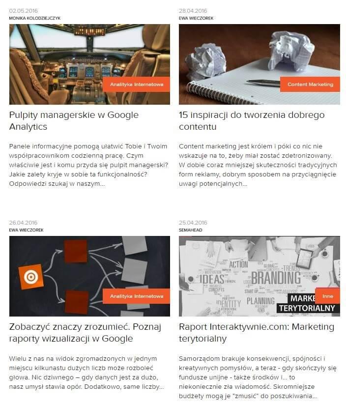 Przykład konstrukcji tytułów artykułów nablogu Semahead