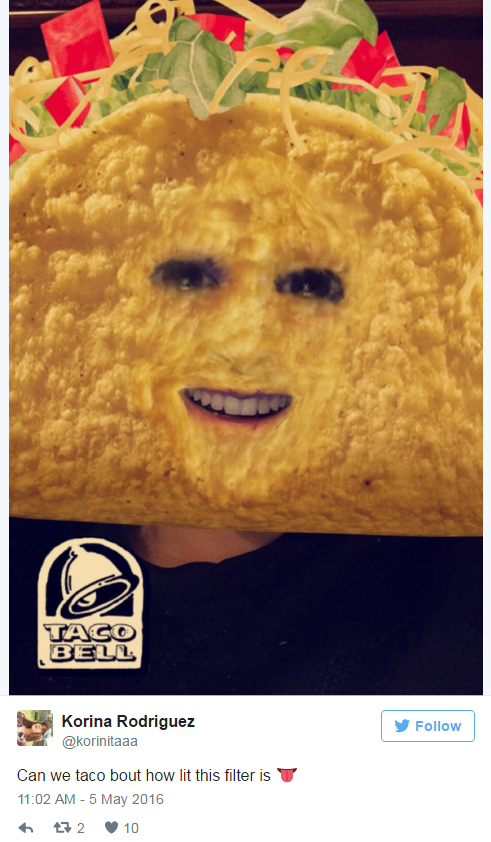 Filtr na Snapchat od Taco Bell
