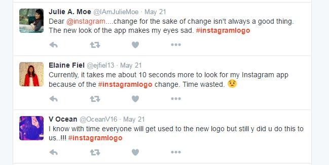 Twitter - reakcje użytkowników na nowy wygląd Instagram