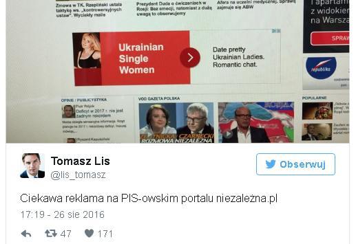 Tomasz Lis udostępnił zrzut rekranu