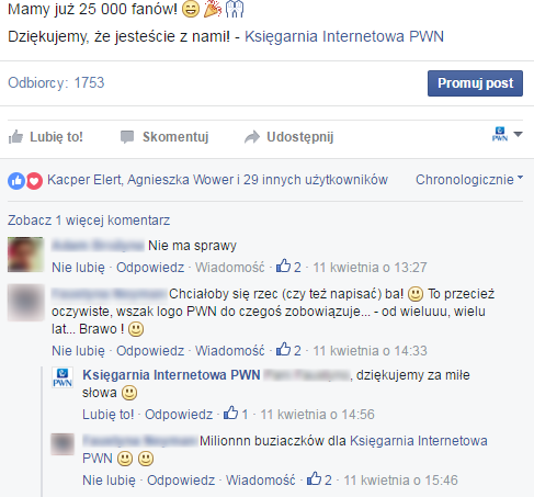 Screen z profilu PWN na Facebooku