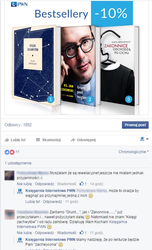 Screen zprofilu PWN naFacebooku