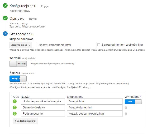 Konfiguracja celu Google Analytics