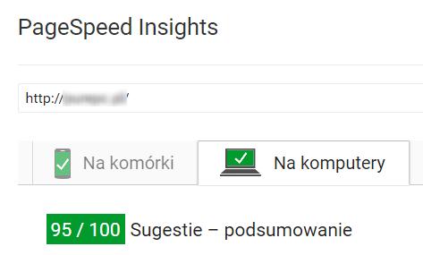 Wyniki testu szybkości strony