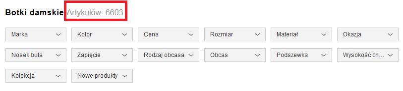 Możliwości filtrowania produktów nazalando.pl