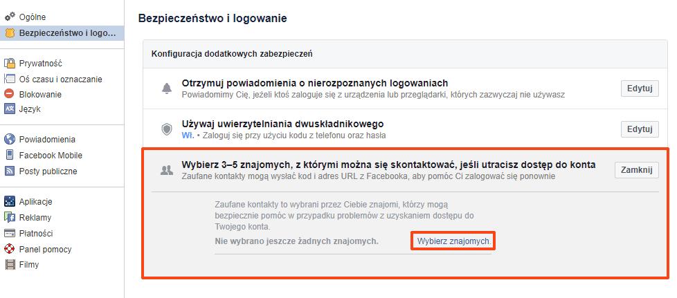 utrata danych facebook
