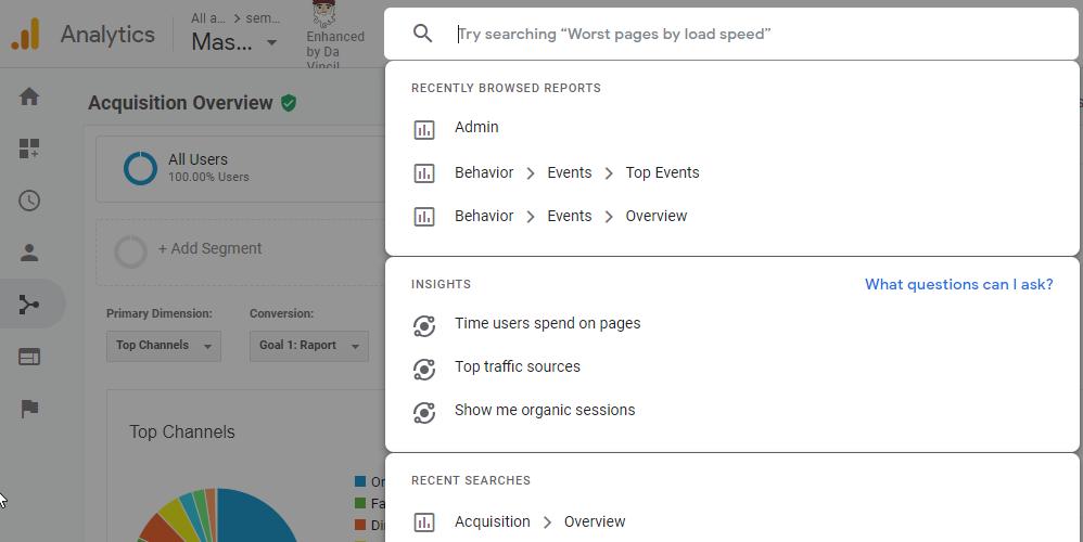 pole wyszukiwania wGoogle Analytics