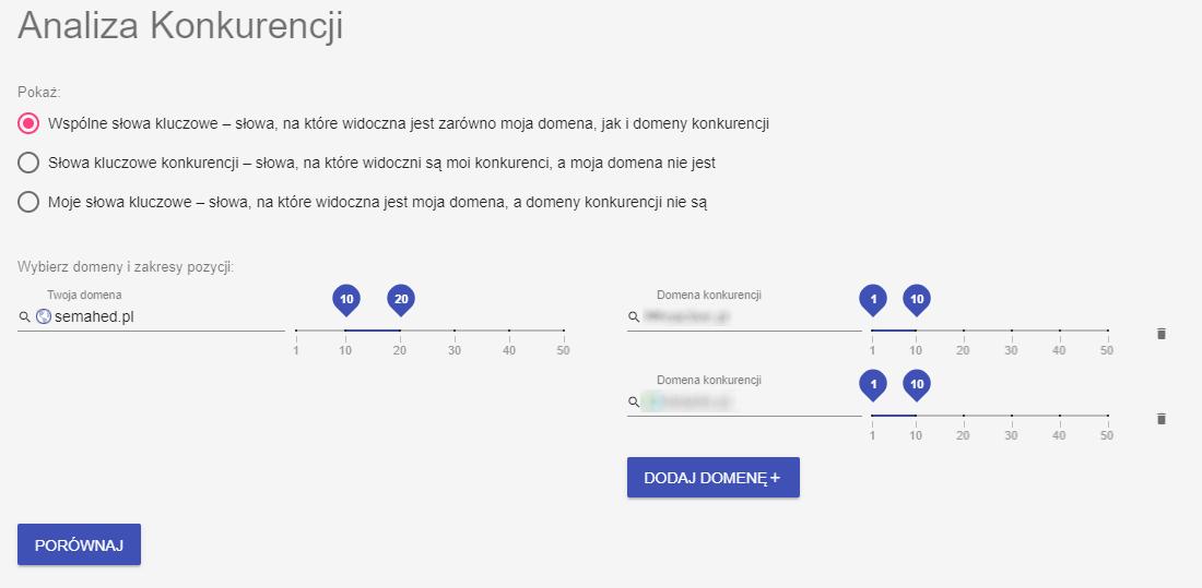 zrzut ekranu analiza konkurencji