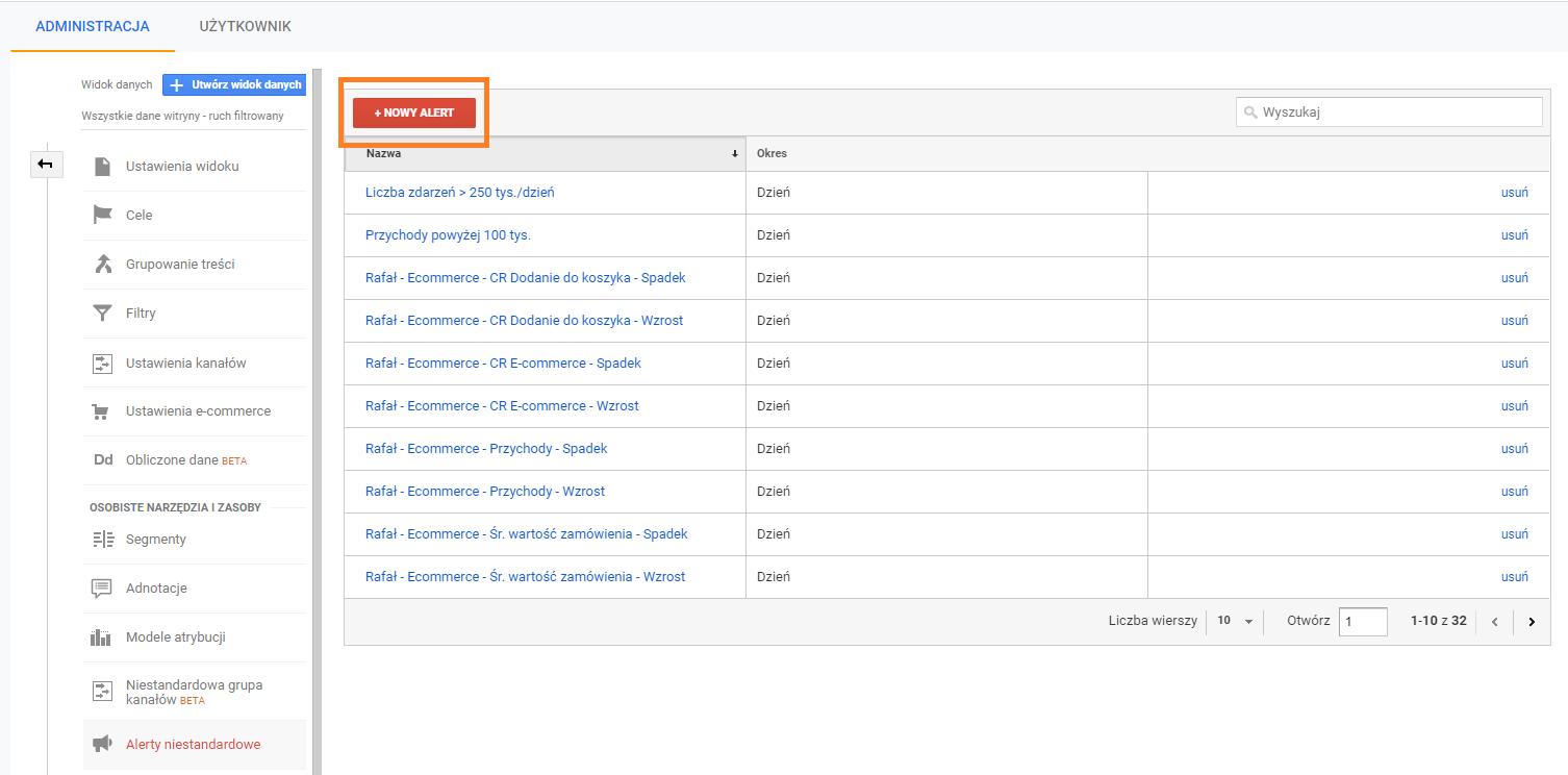 Przycisk nowy alert wpanelu Google Analytics
