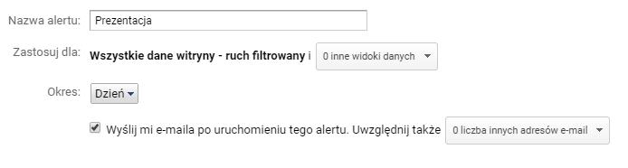 Google Analytics panel alertu