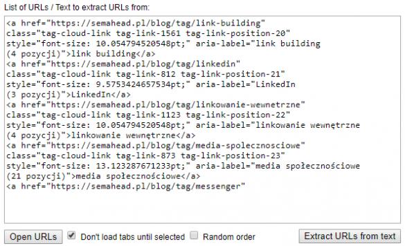Przykład Open Multiple URLs